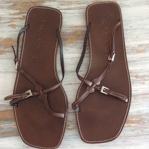 Prada brown leather  buckle sandals 40 1/2